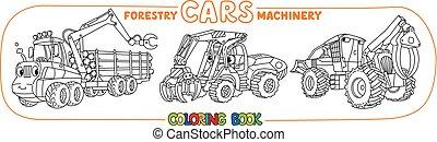engraçado, coloração, carros, silvicultura, jogo, maquinaria