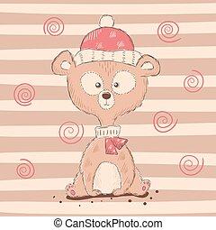 engraçado, cute, caricatura, urso, characters.