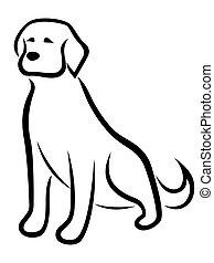 engraçado, esboço, isolado, cão, experiência preta, branca