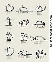 engraçado, esboço, texto, gatos, desenho, lugar, seu