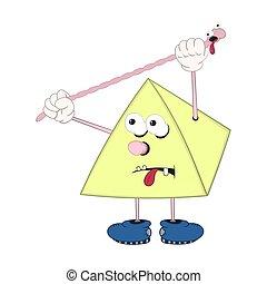 engraçado, estica, piramide, sapatos, olhos, braços, comprimento, earthworm., pernas, caricatura