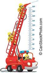 engraçado, fogo, meterwall, firemachine, caminhão, retro, ou
