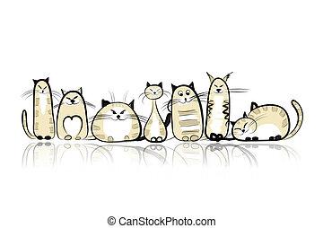 engraçado, gatos, desenho, seu, família