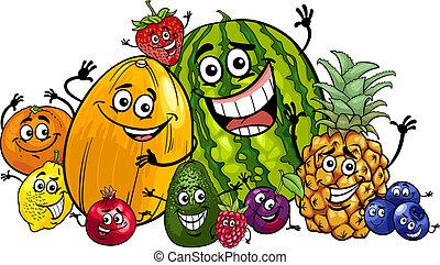 engraçado, grupo, caricatura, ilustração, frutas