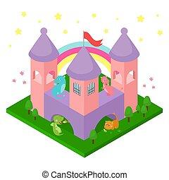engraçado, isolated., pequeno, dinossauros, design., ilustração, castelo, dragões, isometric, animais, caricatura, fantasia, vetorial, cute, fairytale, bebê, crianças, decoração, crianças
