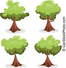 engraçado, jogo, árvores verdes