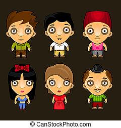 engraçado, jogo, pessoas., characters., vetorial, caricatura
