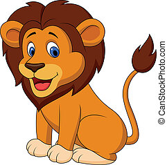 engraçado, leão, caricatura