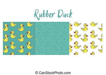 engraçado, lotes, padrão, amarela, patos, pato borracha