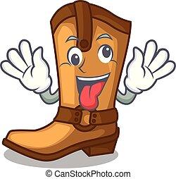 engraçado, loucos, boiadeiro, couro, botas, forma, caricatura