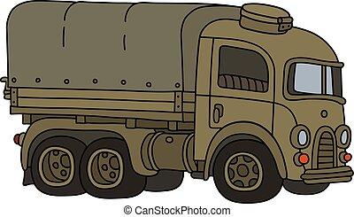 engraçado, militar, caminhão, retro