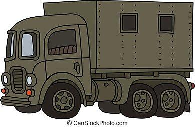 engraçado, militar, caminhão velho