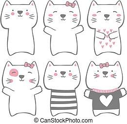 engraçado, modernos, gatos, cute