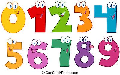 engraçado, números, caráteres, caricatura