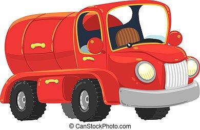 engraçado, old-styled, caminhão, petroleiro, vermelho