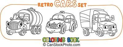 engraçado, olhos, coloração, carros, jogo, retro, pequeno, livro