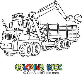engraçado, olhos, coloração, harvester, car, livro