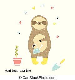engraçado, preguiça, boots., animal, adorável, caricatura