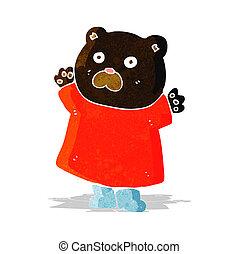 engraçado, pretas, caricatura, urso