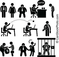 engraçado, saliência, escritório negócio, ícone