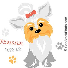 engraçado, sentando, cão, yorkshire, vetorial, terrier