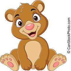 engraçado, sentando, urso, bebê, caricatura
