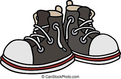 engraçado, sneakers, pretas
