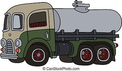 engraçado, tanque, caminhão velho