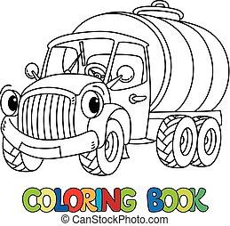 engraçado, tinja livro, caminhão, pequeno, eyes., leite