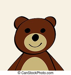 engraçado, toy., caricatura, urso, animal