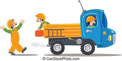 engraçado, trabalhadores, caminhão, três