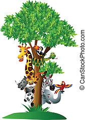engraçado, vário, caricatura, safari, animal