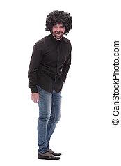 engraçado, vista., branca, isolado, jeans., sujeito, chocar-se, lado