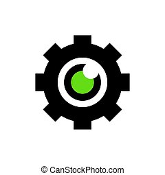 engrenagem, desenho, vetorial, elemento, ícone, logotipo, olho