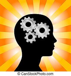 engrenagem, pensamento mulher, cabeça, laranja, perfil, amarela, raios