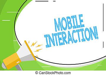 enorme, mostrando, megafone, foto, usuários, computadores, móvel, texto, adesivo, entre, sinal, volume, shouting, forma, interação, icon., em branco, oval, interaction., conceitual, branca