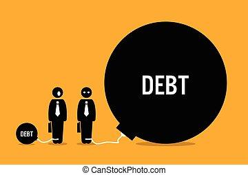 enorme, pessoas, outro, debt., surpreendido, homem