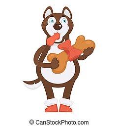 enorme, segura, cão, botas, fita, husky, osso, vermelho