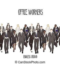enorme, trabalhadores, torcida, escritório