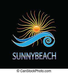 ensolarado, desenho, vetorial, praia, logotipo