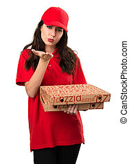 entrega, enviando, mulher, beijo, pizza