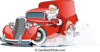 entrega, retro, caminhão, natal, caricatura