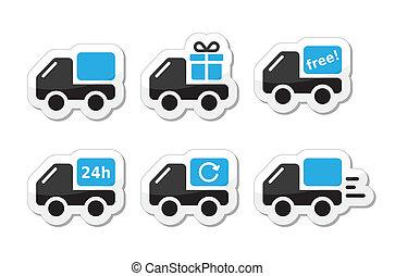 entrega, vetorial, car, despacho, ícones