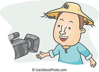 entrevista, homem câmera, agricultor