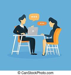 entrevista, illustration., negócio