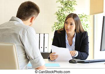 entrevista trabalho, homem, procurar, durante