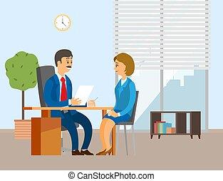 entrevistado, pessoas, menina, diretor, positivo, escritório., trabalhando, colegas., comunicação