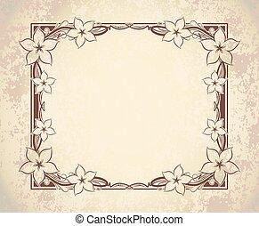 envelhecido, antigas, notas., espaço, vindima, quadro, cartão, text., saudação, papel, retro, modelo, convite, flores, ou, vazio