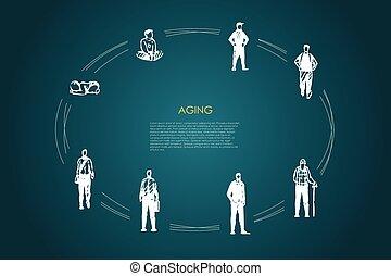 envelhecimento, diferente, antigas, vetorial, -, conceito, homem, menino, jogo, infancia, fases, idade, infance, adulto