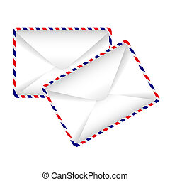 envelopes, -, ícone, dois, vetorial